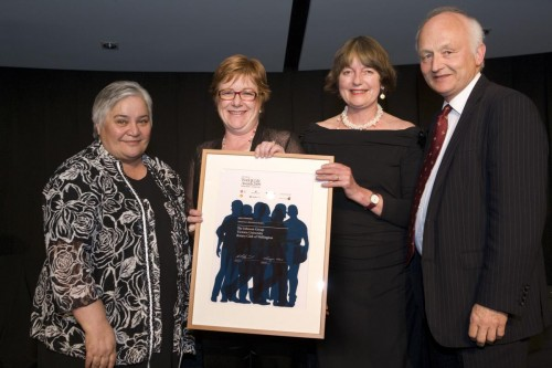 The Hon Tariana Turia, Minister for Disability Issues, with Leigh Johnson (The Johnson Group), Nicky Riddiford (Victoria University of Wellington) and Professor Richard Prebble (Rotary Club of Wellington) at the 2014 graduation event.